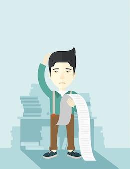 Impiegato giapponese triste che tiene un elenco dei debiti.