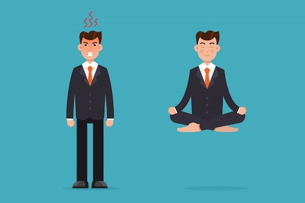 Impiegato meditando, seduto nella posa del loto. calma e arrabbiata. concetto di meditazione uomo d'affari. illustrazione.