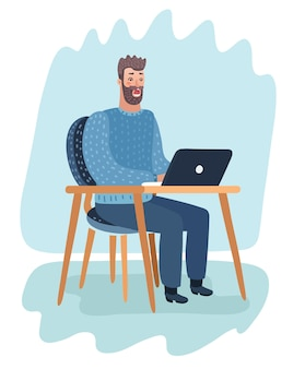 Impiegato spaventato allo scrittorio con il computer portatile che tiene la sua testa