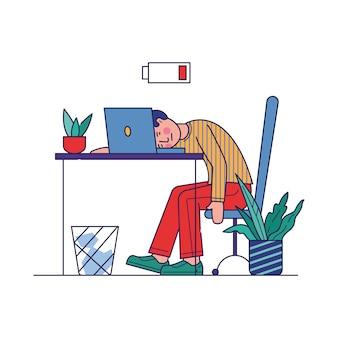 Impiegato stanco esaurito con lavoro