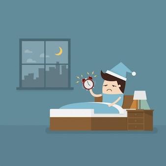 Impiegato svegliarsi presto per andare al lavoro