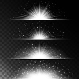 Imposta effetti di luce realistici. stella luminosa. luce e glitter su un trasparente