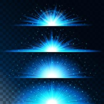 Imposta effetti di luce realistici. stella luminosa. luce e glitter