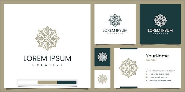 Imposta elementi floreali e foglia circolari, ispirazione per il design del logo