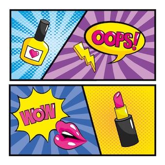 Imposta fumetti pop art con messaggi di bolle di chat