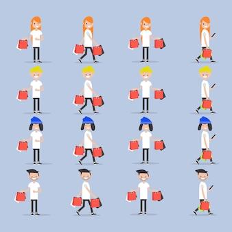 Imposta i giovani personaggi con le borse dei negozi.