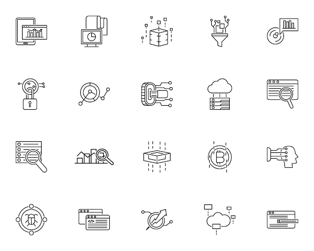 Imposta icona contorno tecnologia dati