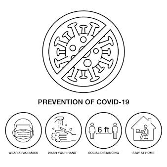 Imposta icona prevenzione di covid-19, segno e simbolo della linea del tratto,