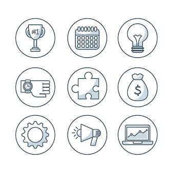 Imposta icone isolate di affari