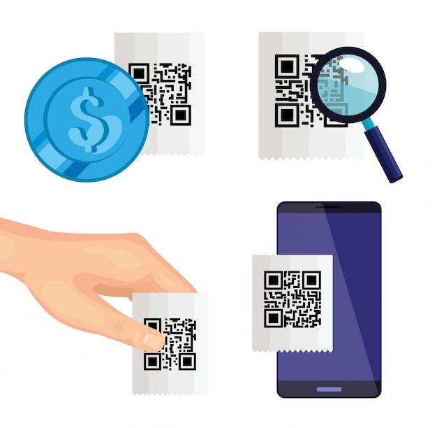 Imposta il codice qr di scansione e l'illustrazione degli elementi