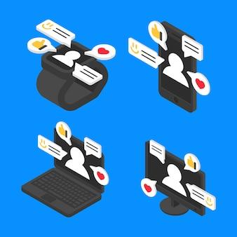 Imposta il concetto di chat messaggio isometrico. progettazione di internet di comunicazione sociale di vettore