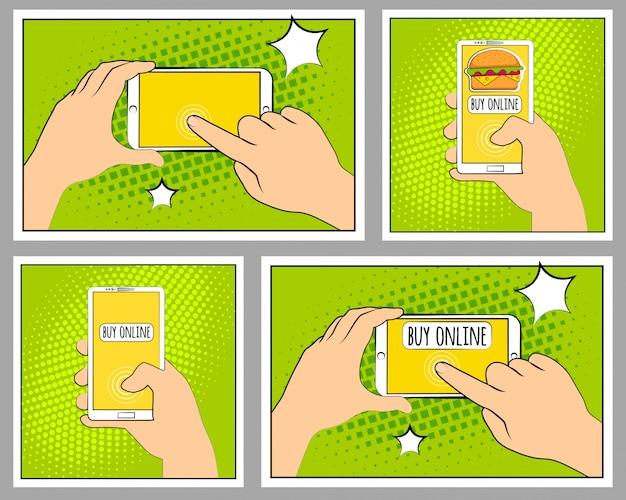 Imposta il telefono comic con ombre di mezzitoni. mano che tiene smartphone. stile retrò pop art.