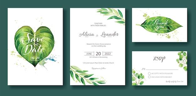 Imposta invito a nozze greenery, salva la data, grazie, modello di carta rsvp.