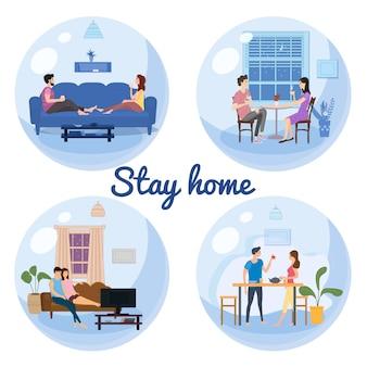 Imposta l'autoisolamento dei banner con il concetto di quarantena in casa. le coppie giovani famiglie sedute a casa bevono tè, guardano film tv sorridenti e stanno insieme