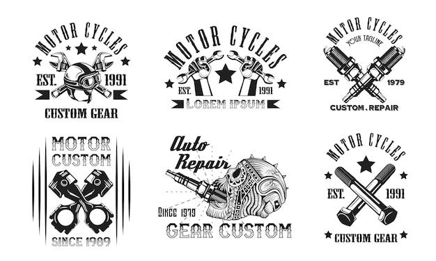 Imposta l'emblema del logo del garage motorcycles