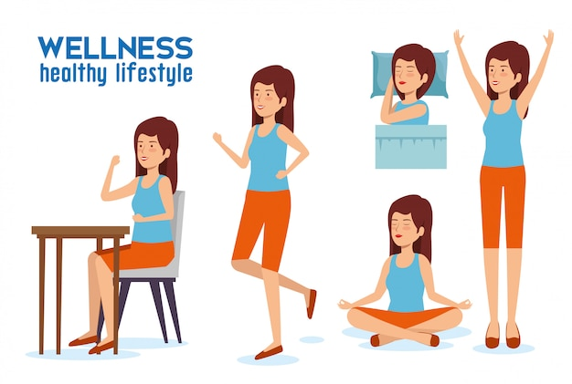 Imposta l'equilibrio dello stile di vita della donna con sonno, relax e mangia