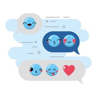 Imposta l'icona del design emozione emoji kawaii