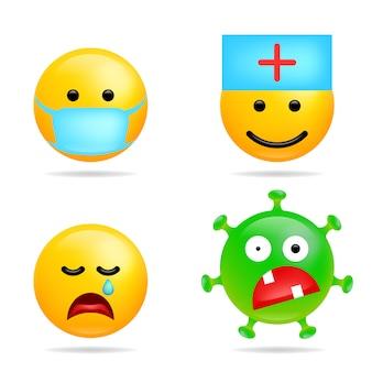 Imposta l'infezione da emoji coronavirus di smile. viso con mascherina medica. emoticon di virus dei cartoni animati per commenti chat sui social media. illustrazione