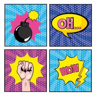 Imposta la bomba e la mano con i messaggi pop art
