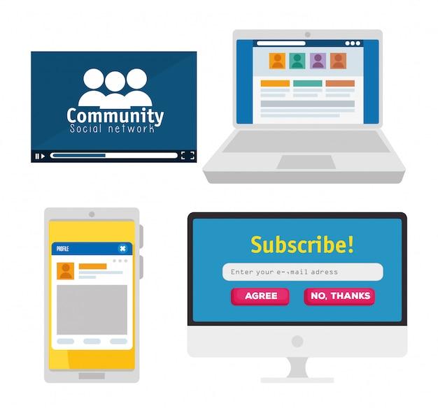 Imposta la community di persone con laptop e smartphone