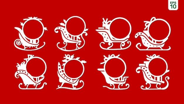 Imposta la cornice con monogramma di natale sulla slitta di babbo natale