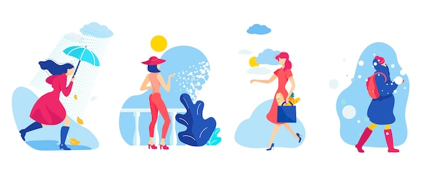 Imposta la donna in differenti stagioni e condizioni meteorologiche.