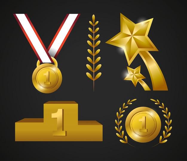 Imposta la medaglia con il premio di monete e stelle per il campione