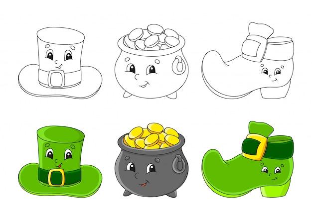 Imposta la pagina da colorare per bambini. festa di san patrizio. cappello leprechaun. pentola d'oro. stivale leprechaun.