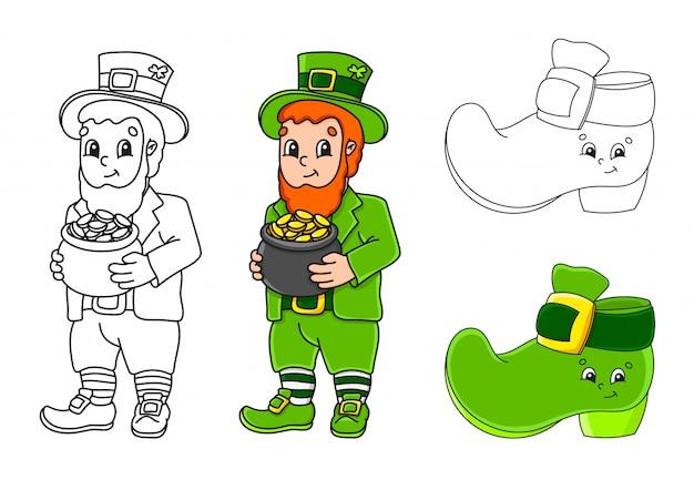 Imposta la pagina da colorare per bambini. festa di san patrizio. leprechaun con una pentola d'oro, stivale.