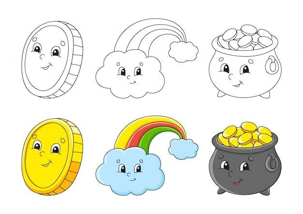 Imposta la pagina da colorare per bambini. festa di san patrizio. pentola d'oro. arcobaleno magico. moneta d'oro.
