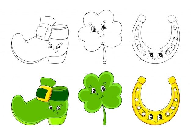 Imposta la pagina da colorare per bambini. festa di san patrizio. stivale leprechaun. trifoglio trifoglio. ferro di cavallo dorato.