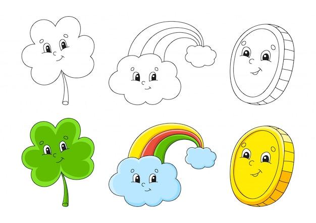 Imposta la pagina da colorare per bambini. festa di san patrizio. trifoglio trifoglio. arcobaleno magico. moneta d'oro.