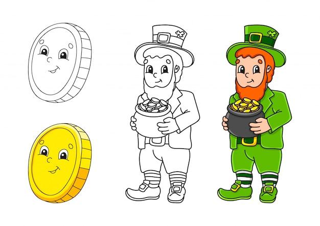 Imposta la pagina da colorare per bambini. festa di san patrizio.
