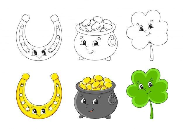 Imposta la pagina da colorare per bambini. pentola d'oro. personaggi dei cartoni animati carino. trifoglio trifoglio. ferro di cavallo dorato.