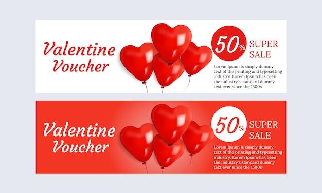Imposta la promozione di super promozione del design di voucher di san valentino