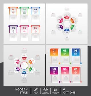Imposta la raccolta di opzioni infografica con 6 opzioni e stile colorato per scopi di presentazione, affari e marketing.