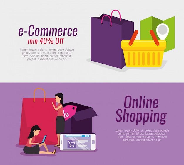 Imposta la tecnologia dello shopping online e il mercato dell'e-commerce