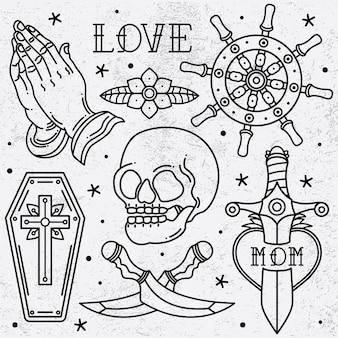 Imposta la vecchia scuola del tatuaggio flash