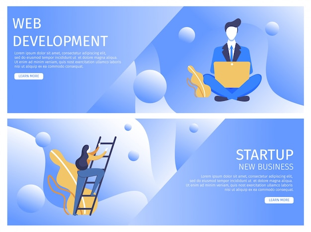 Imposta lo sviluppo web flat, startup new business.