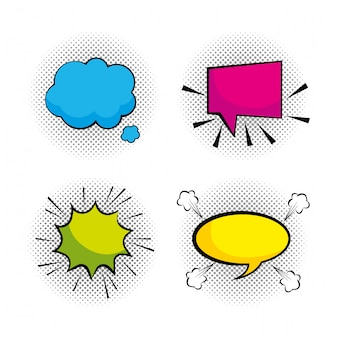 Imposta messaggi di bolle di chat pop art
