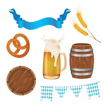 Imposta oktoberfest. illustrazione con elementi più oktoberfest