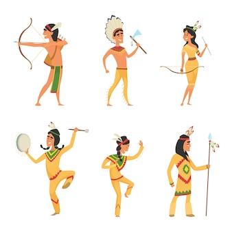 Imposta personaggi in stile cartone animato. indiano americano tradizionale