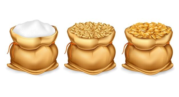 Imposta una borsa di tela realistica piena di cereali o cereali