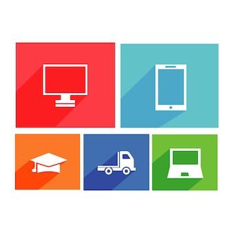 Impostare 5 illustrazioni di icone piatte