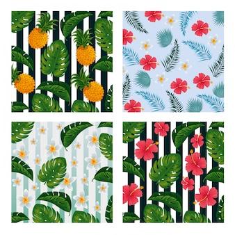Impostare ananas con fiori e foglie sfondo vintage