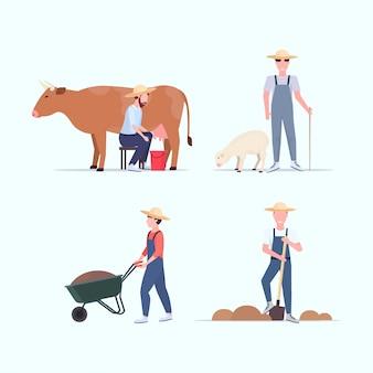 Impostare animali da riproduzione contadino e giardinaggio diversi concetti raccolta agricoltura eco agricoltura concetto a figura intera