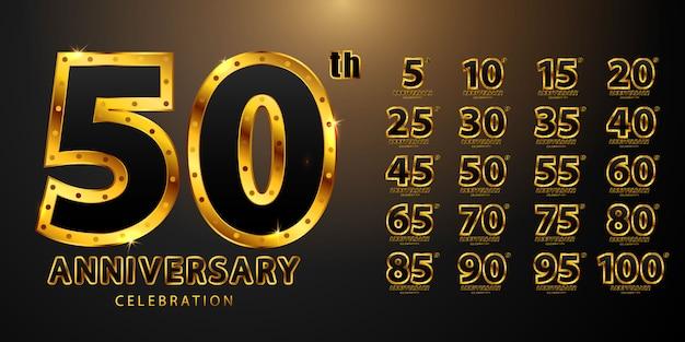 Impostare anniversario composizione di forme di testo modello di carattere dorato e nero classico