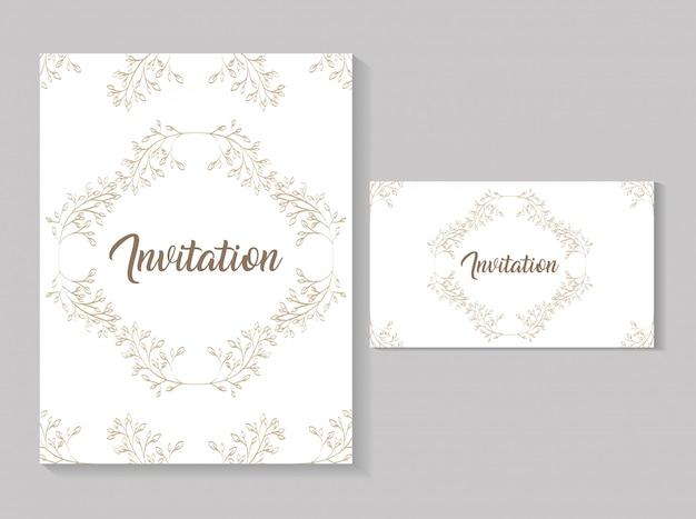 Impostare biglietti d'invito con foglie calligrafia dorata