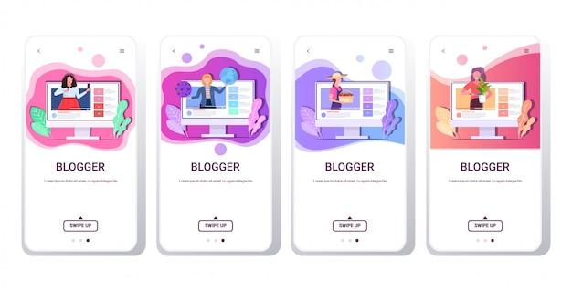 Impostare blogger registrazione video mix online gara vlogger facendo streaming live trasmissione social media rete blogging concetto smartphone schermi raccolta spazio copia orizzontale