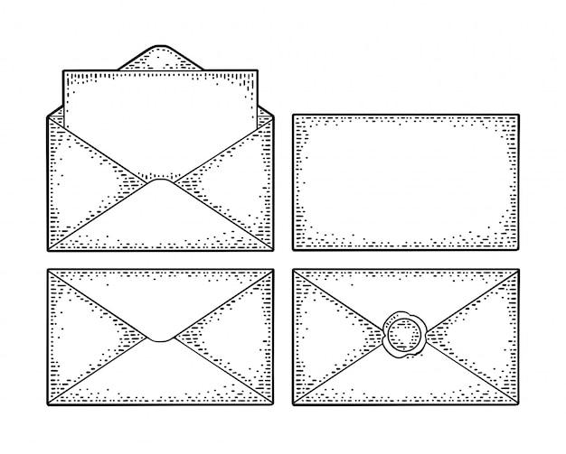Impostare buste di carta con viste diverse. incisione vintage fronte e retro